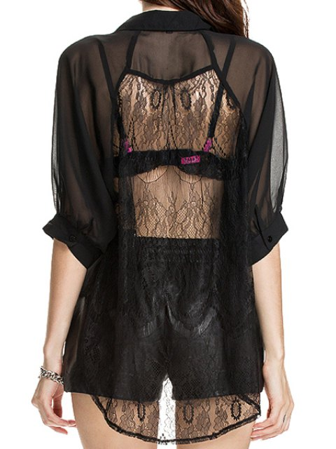 unique Black Half Sleeve See-Through Shirt - BLACK XS Mobile