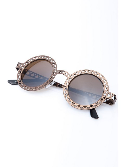 women's Hollow Out Zig Zag Round Sunglasses - BRONZE-COLORED  Mobile