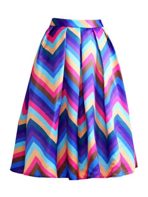 trendy Zig Zag Print A Line Midi Skirt - PURPLE L Mobile
