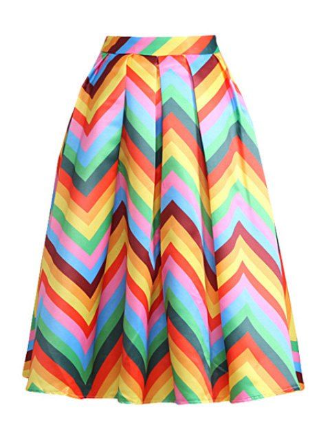 unique Zig Zag Print A Line Midi Skirt - YELLOW L Mobile