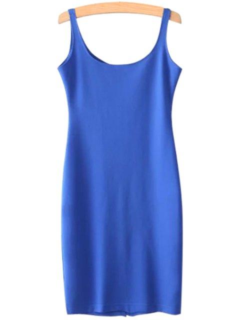 shops Solid Color Scoop Neck Sundress - BLUE L Mobile