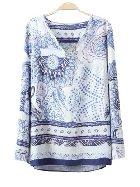 new Polka Dot Floral Print Long Sleeve T-Shirt - BLUE AND WHITE XL Mobile