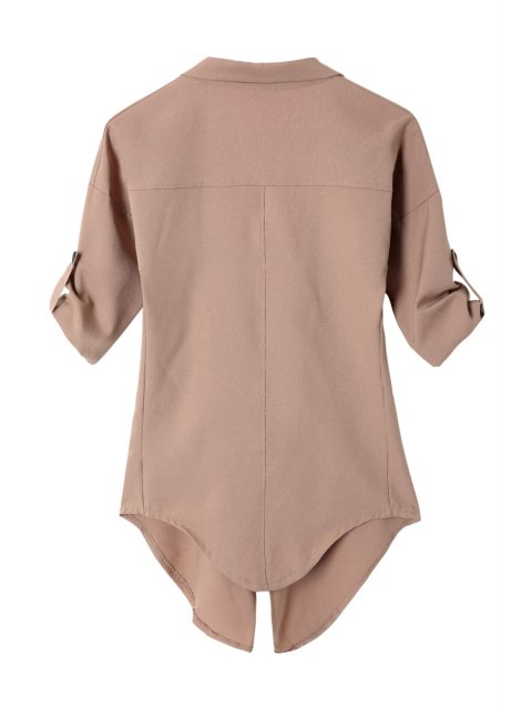 chic Long Sleeve Solid Color Trench Coat - CAMEL L Mobile
