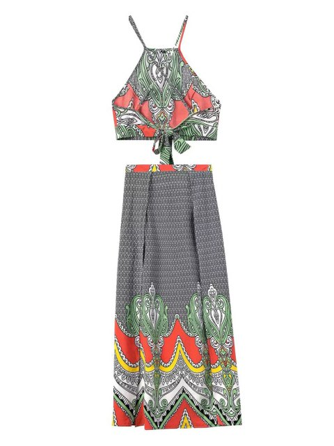 latest Spaghetti Strap Crop Top and Vintage Print Skirt Suit - BLACK L Mobile