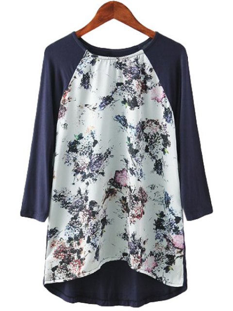 ladies Floral Print Splicing Long Sleeve T-Shirt - COLORMIX S Mobile