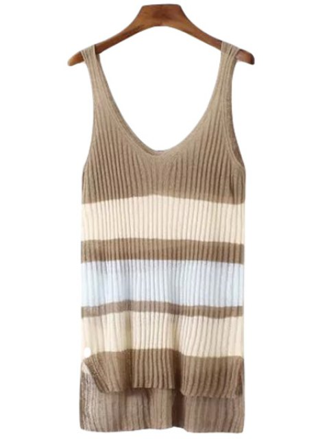 shop Color Block Stripe High Low Sleeveless Sweater - LIGHT COFFEE ONE SIZE(FIT SIZE XS TO M) Mobile