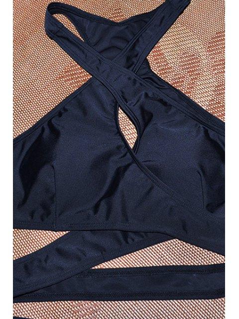 Ensemble de bikini sans manches en V à col sans couture - Noir M Mobile