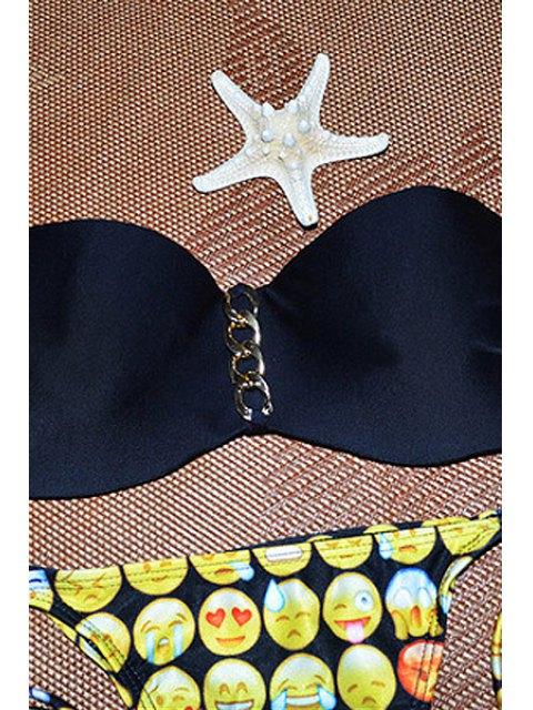 Ensemble de bikini sans bretelles Emoji Print - Noir L Mobile