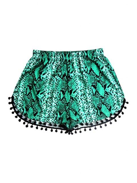 hot Elastic Waist Laciness Printed Shorts - GREEN XL Mobile