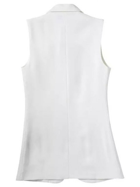 women Lapel Pocket Solid Color Sleeveless Waistcoat - WHITE L Mobile
