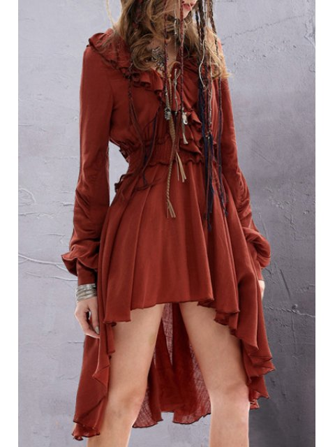 fancy Solid Color Ruffled Long Sleeve Dress - DARK RED M Mobile