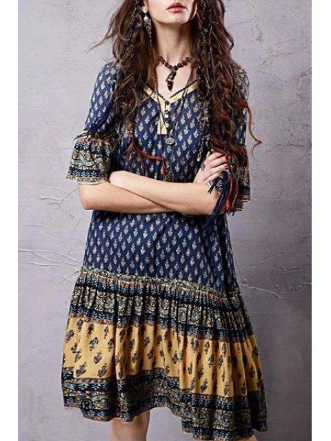 women Ethnic Print V Neck Half Sleeve Dress - COLORMIX M Mobile