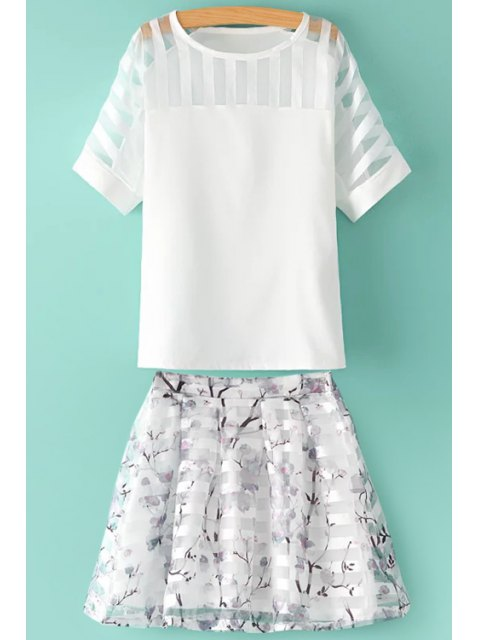 outfits See-Through Solid Color T-Shirt + Floral Print Skirt - WHITE M Mobile