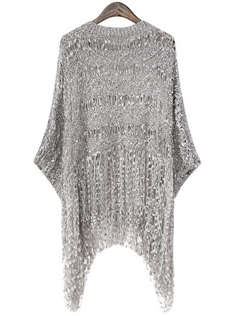 womens Fringe Openwork Long Sleeve Sweater - GRAY ONE SIZE(FIT SIZE XS TO M) Mobile