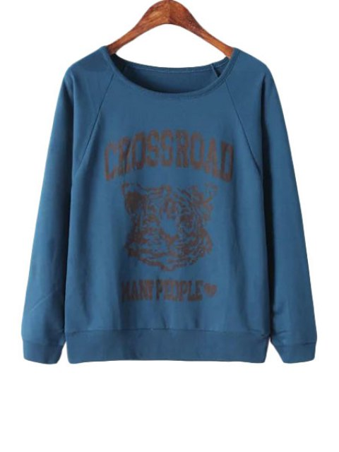 outfits Letter Tiger Print Long Sleeve Sweatshirt - CADETBLUE ONE SIZE(FIT SIZE XS TO M) Mobile