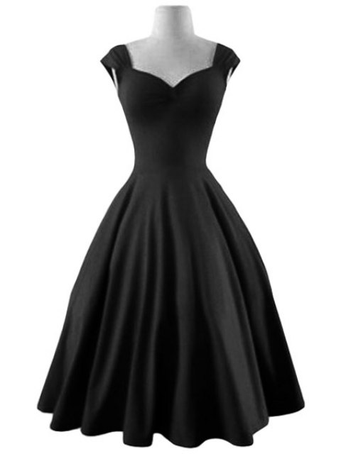 women Reversible Solid Color Ball Gown Dress - BLACK M Mobile