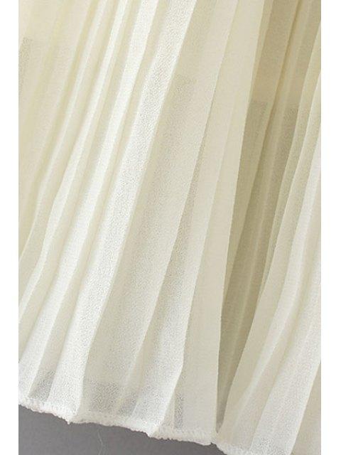 shop Pleated Chiffon A Line Skirt - BLACK L Mobile