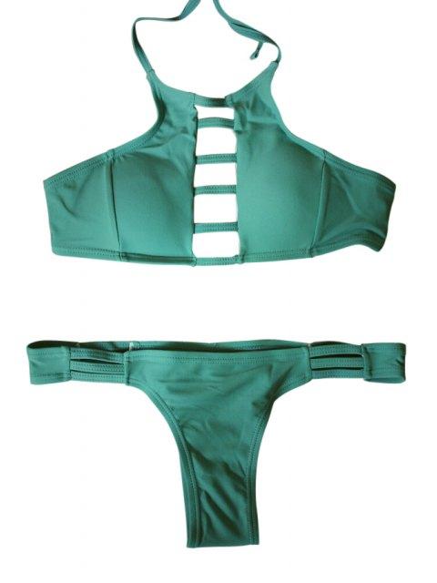 women Spaghetti Strap Tie-Up Hollow Out Bikini Set - GREEN L Mobile