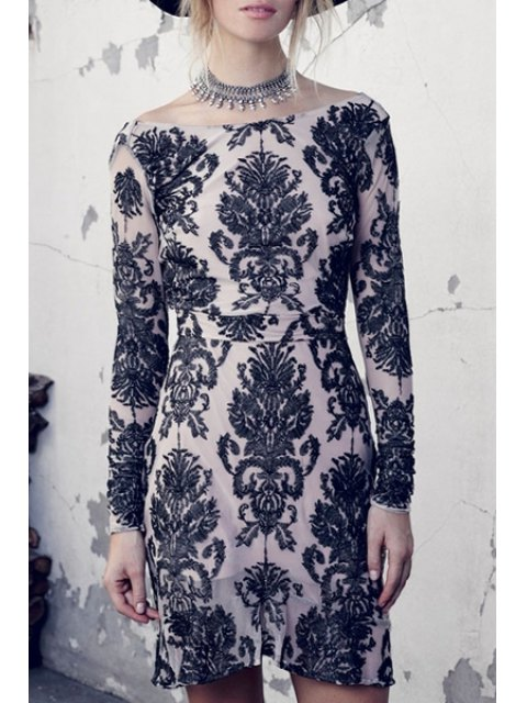 best Boat Neck Backless Lace Floral Dress - OFF-WHITE S Mobile