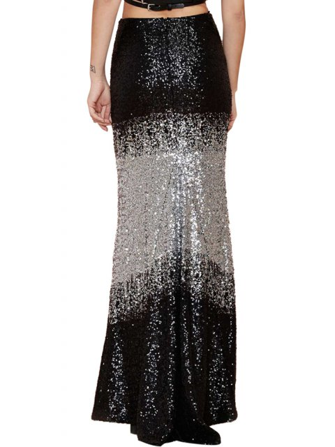 chic Black White Splicing Sequins Long Skirt - BLACK AND GREY S Mobile