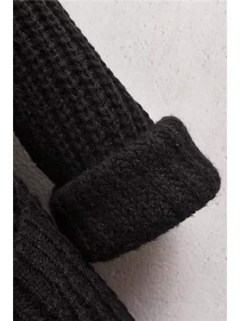 buy Collarless Solid Color Pocket Long Sleeve Cardigan - BLACK M Mobile