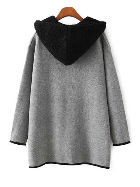 women Hooded Lamb Wool Pocket Long Sleeve Cardigan - GRAY ONE SIZE(FIT SIZE XS TO M) Mobile