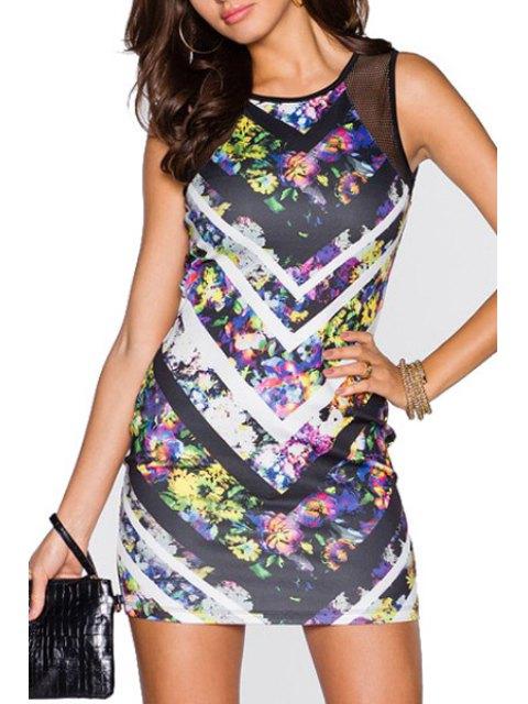 affordable Floral Print Chevron Stripes Mesh Design Club Dress - COLORMIX M Mobile