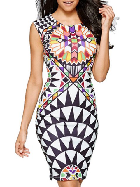 lady Geometric Print Pactet Buttocks Club Dress - WHITE XL Mobile