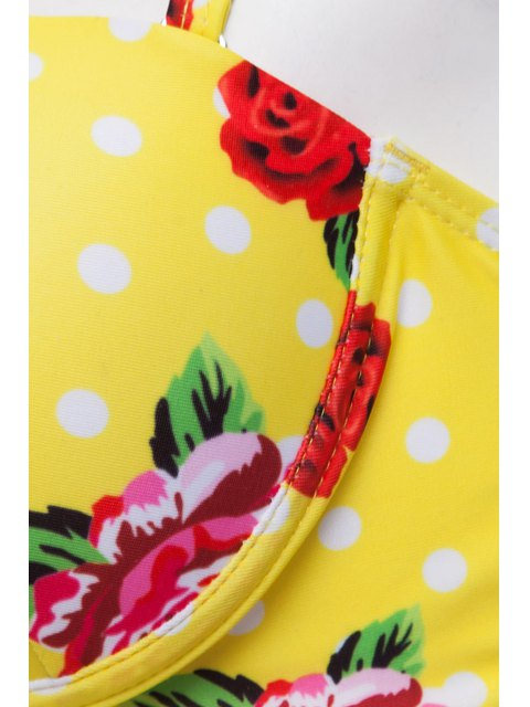 women's Floral Print Underwire Bathing Suit - YELLOW L Mobile