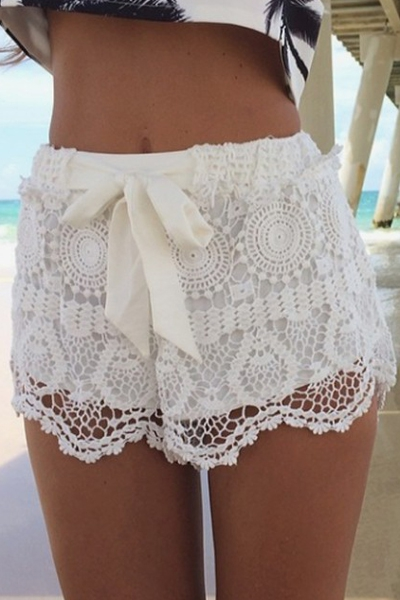 Solid Color Lace Tie Up Shorts