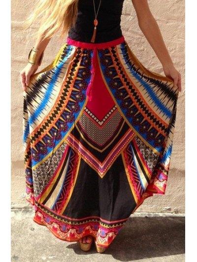Color Block Abstract Print Long Skirt