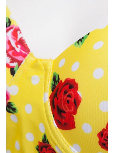 Floral Print Underwire Bikini Set - YELLOW L Mobile