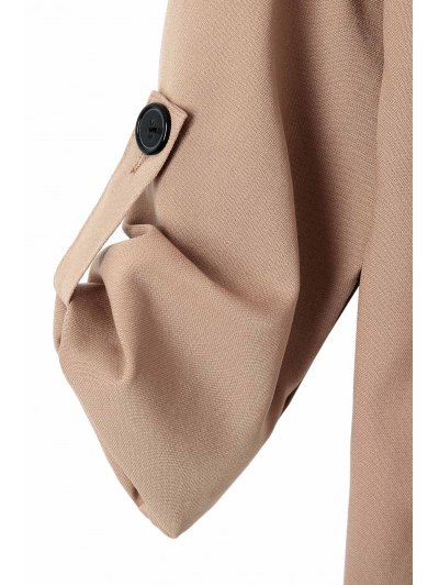 Long Sleeve Solid Color Trench Coat - CAMEL M Mobile