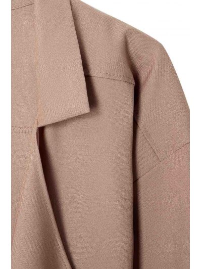 Long Sleeve Solid Color Trench Coat - CAMEL XL Mobile