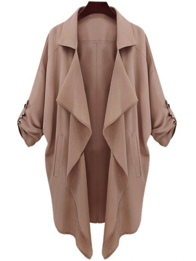 Long Sleeve Solid Color Trench Coat - CAMEL L Mobile
