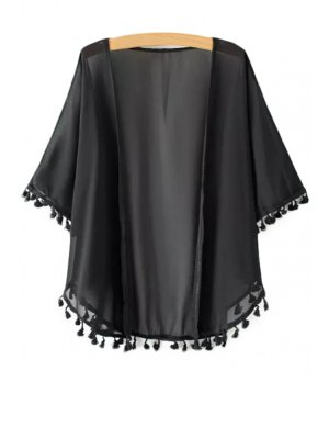 Solid Color Tassle Splicing Half Sleeve Kimono
