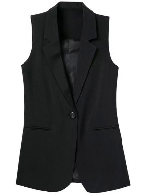 Lapel Pocket Solid Color Sleeveless Waistcoat