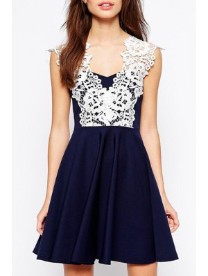 Lace Spliced Ruffled A-Line Mini Dress