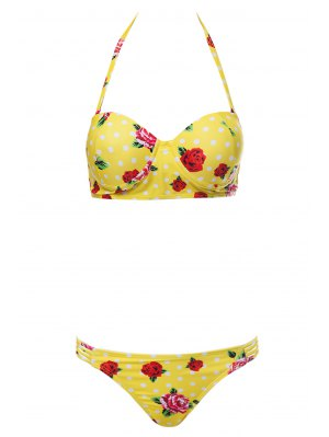 Floral Print Underwire Bathing Suit - Yellow