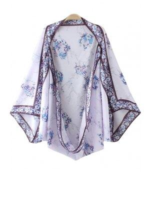 Vintage Floral Print Kimono Blouse