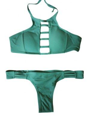 Spaghetti Strap Tie-Up Hollow Out Bikini Set - Green