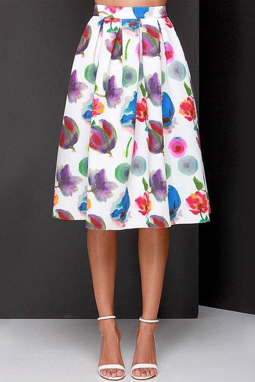 flower print a line midi skirt skirts zaful
