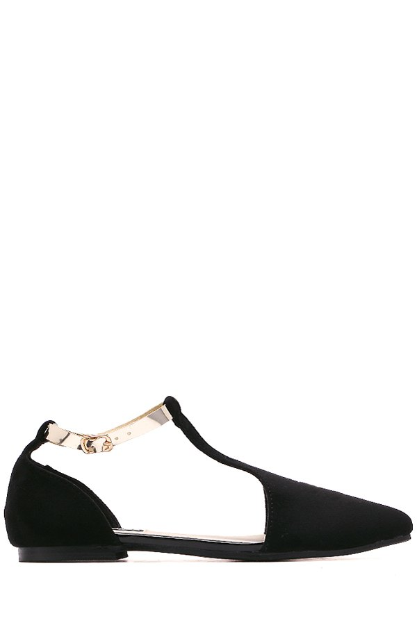T-Strap Pointed Toe Buckle Flat Shoes