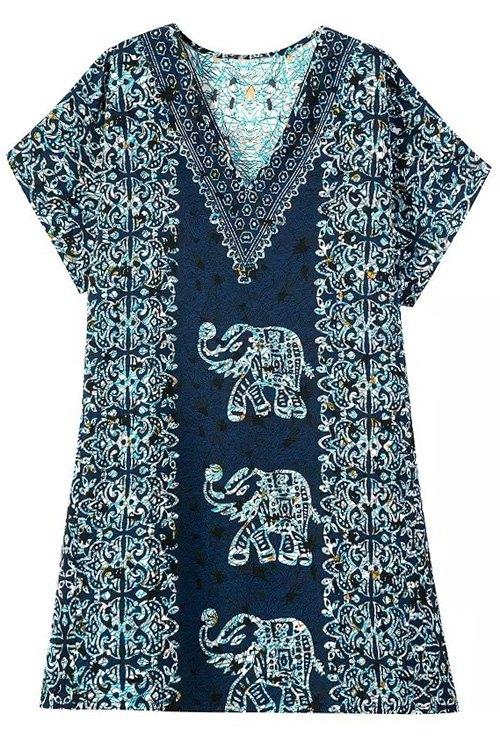 Short Sleeve Elephant Print Dress