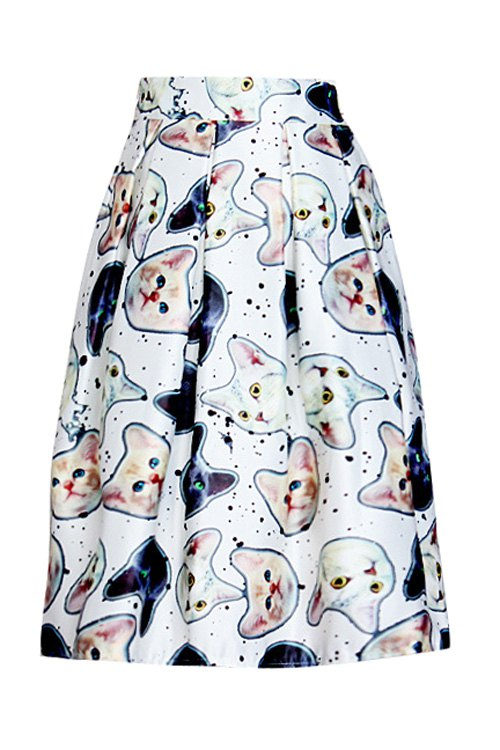 Kitten Print A Line Midi Skirt, White