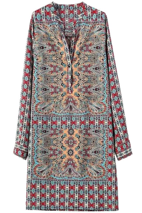 Vintage Print V Neck Long Sleeve Dress
