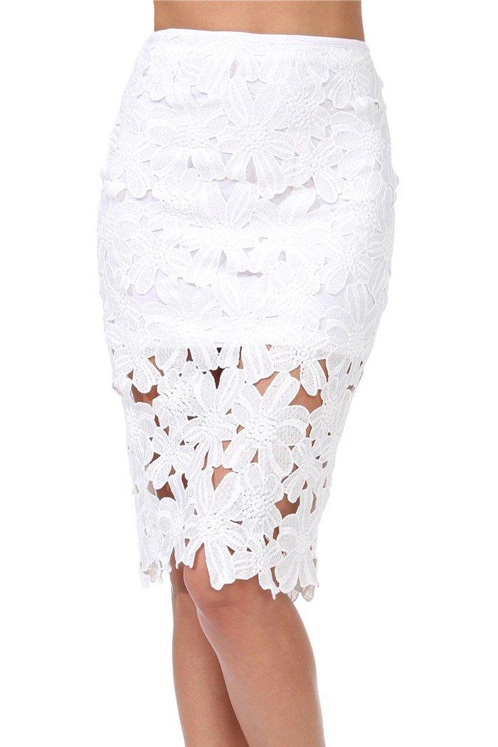 white lace bodycon midi skirt white skirts zaful
