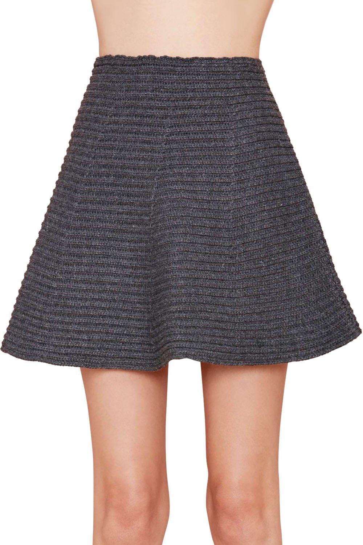 gray high waisted a line knit skirt gray skirts zaful