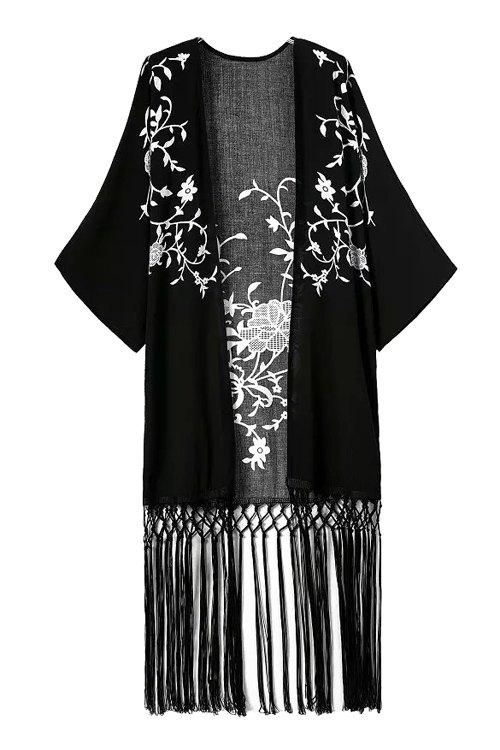 Collarless White Floral Print Tassel Splicing Half Sleeve Kimono