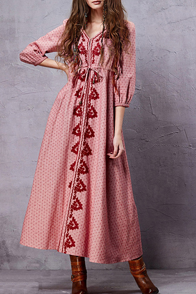 V Neck 3/4 Sleeve Embroidery A Line Dress